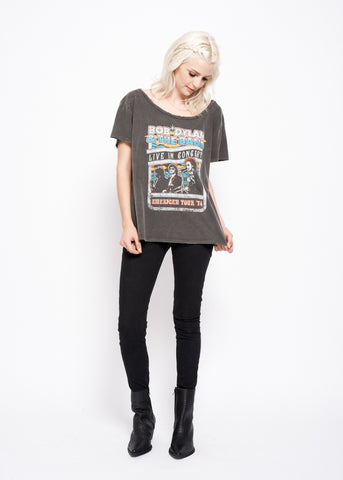 Bob Dylan and The Band Live in Concert Boyfriend Tee - Vintage Black - Women's Boyfriend Tee - Midnight Rider