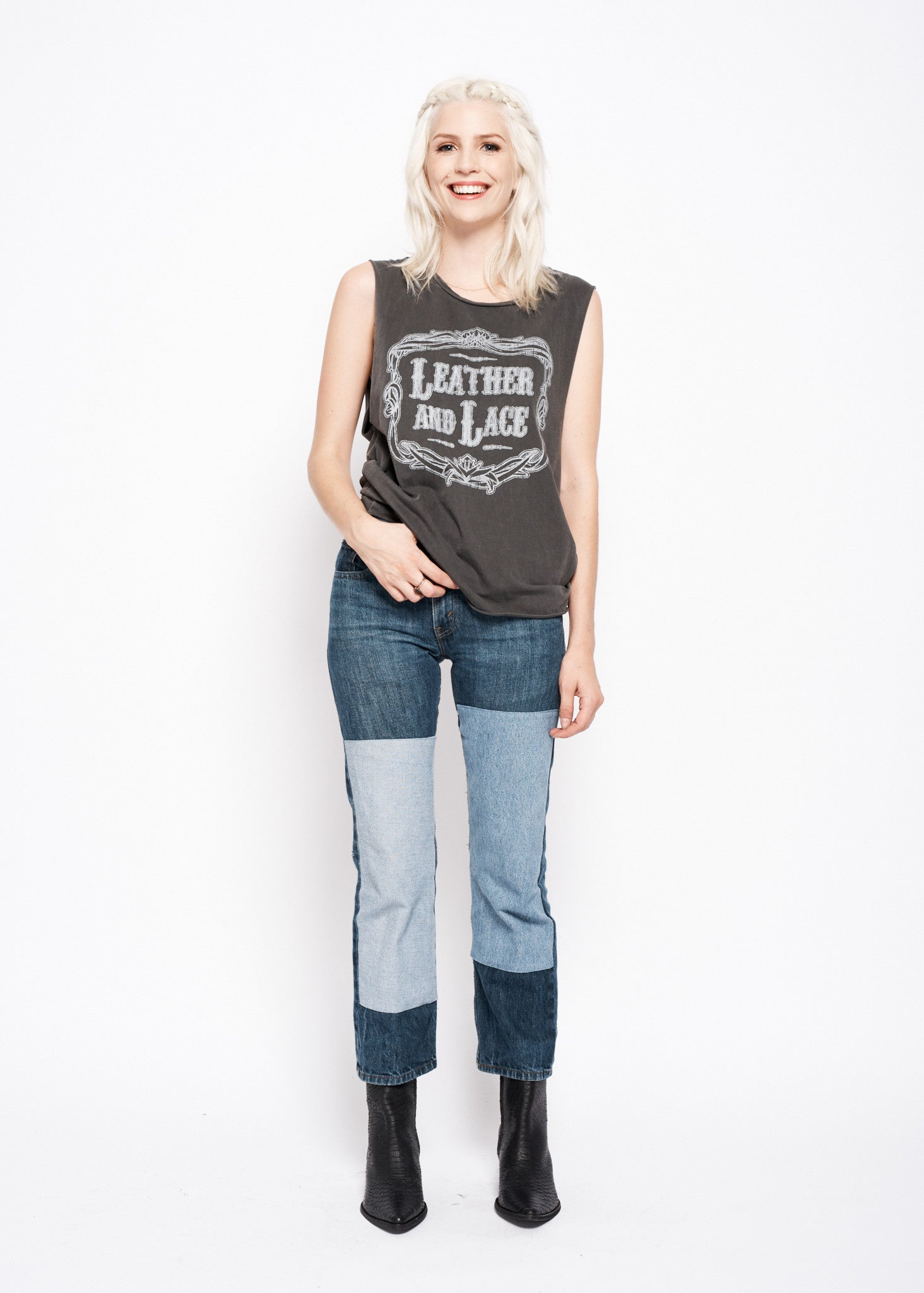 Leather and Lace Muscle Tee - Vintage Black