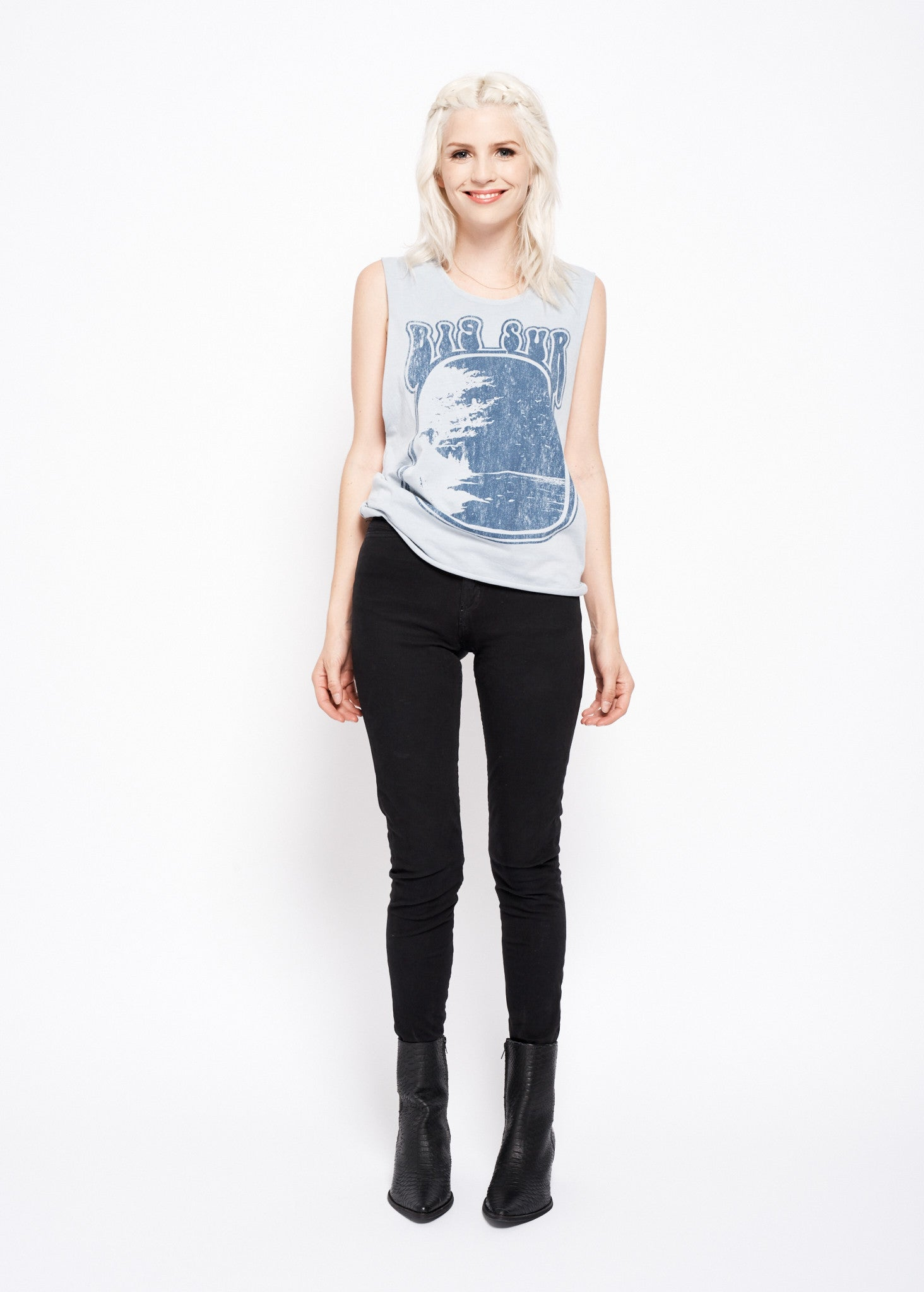 Big Sur Muscle Tee - Sky Blue Stone Wash with Blue Print - Women's Lace Tank - Midnight Rider