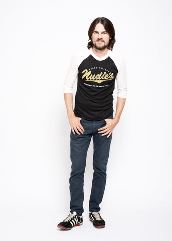 Nudie Horse and Rider Baseball Tee - Black & White