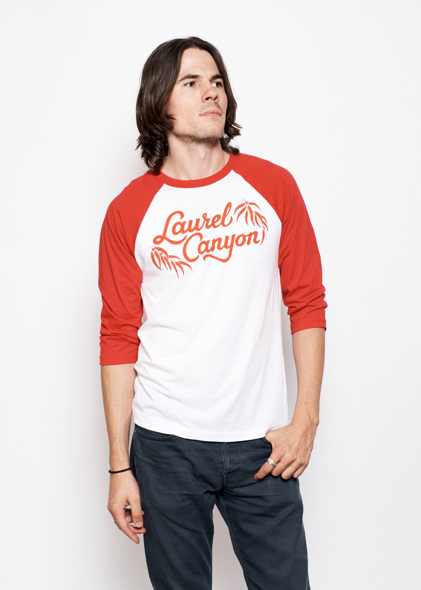 Laurel Canyon Unisex Baseball Tee - White & Red