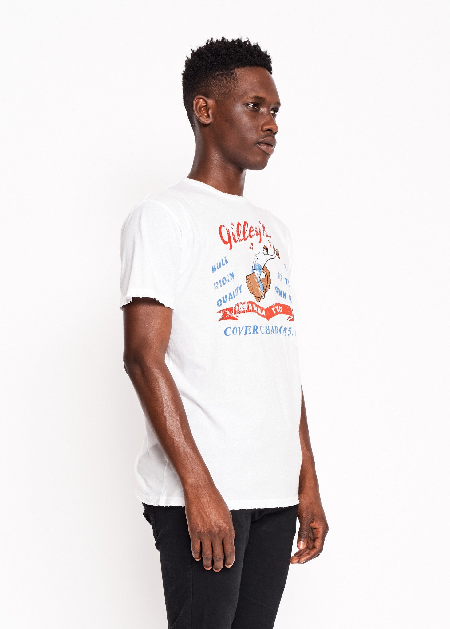 Bull Riding Quality Men's Crew - Bright White