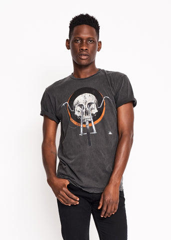 Chopper Skull Men's Crew - Vintage Black - Men's Tee Shirt - Midnight Rider