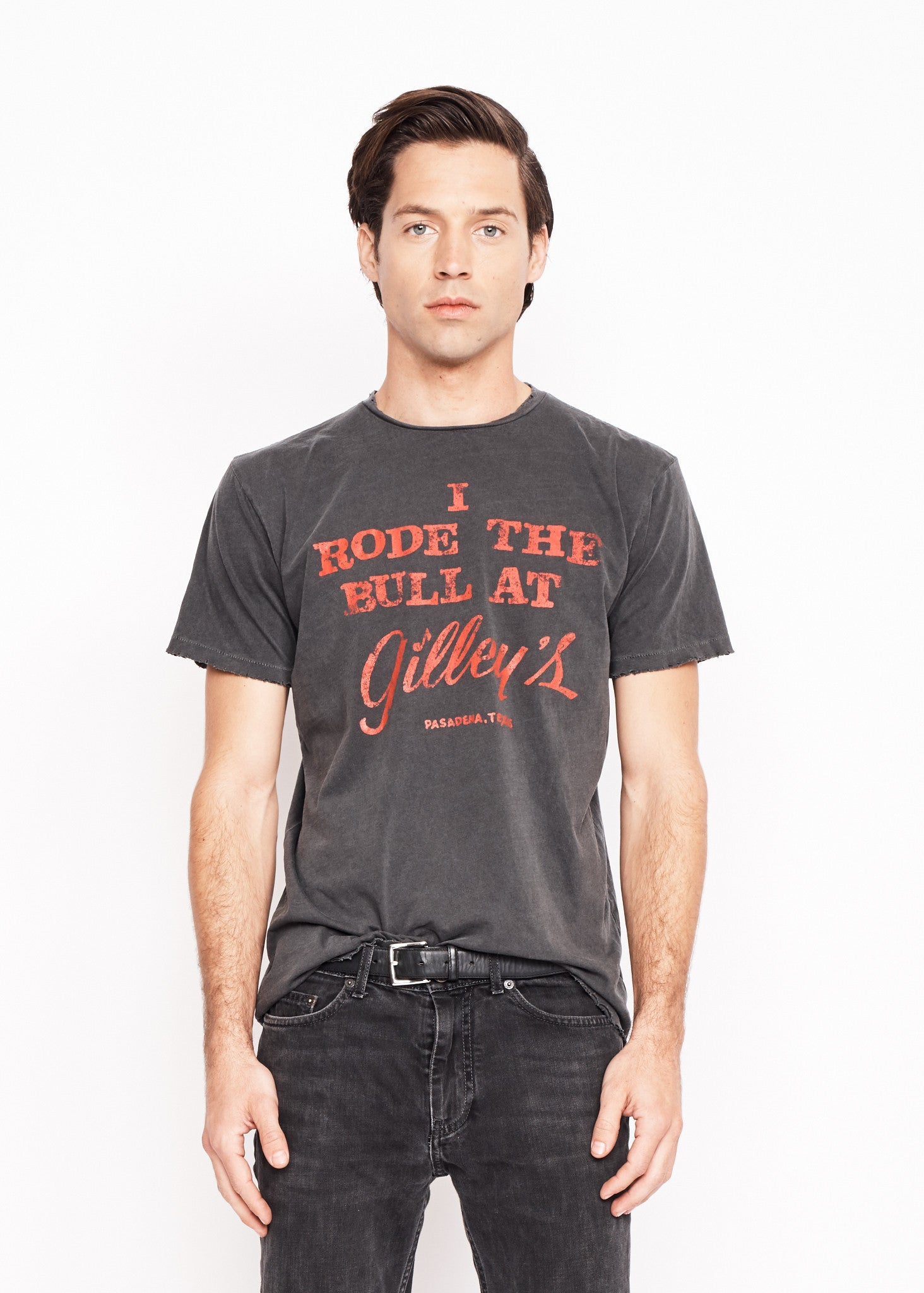 I Rode the Bull at Gilley's Men's Crew - Vintage Black - Men's Tee Shirt - Midnight Rider