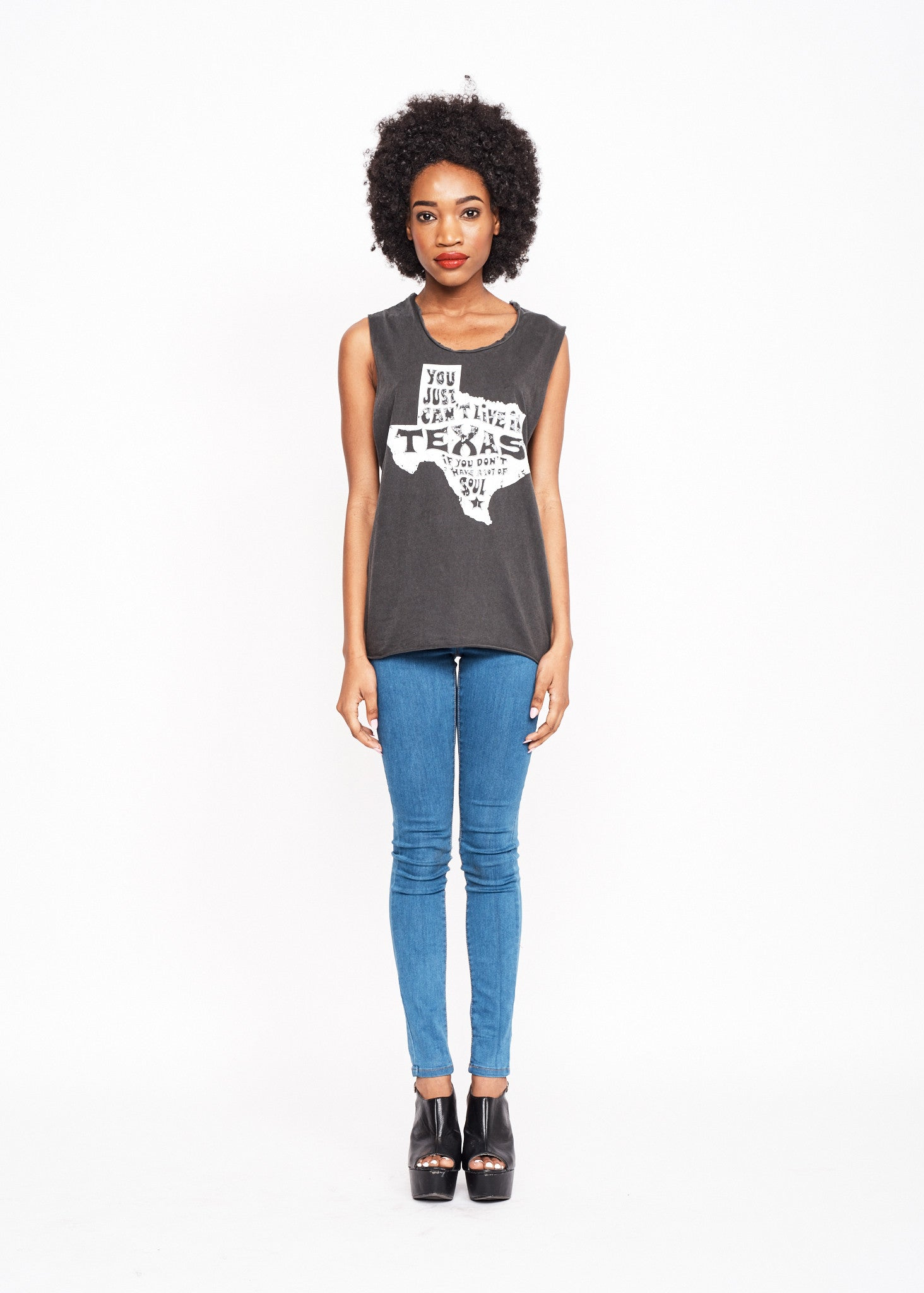Texas Soul Women's Muscle Tee - Vintage Black - Women's Muscle Tee - Midnight Rider