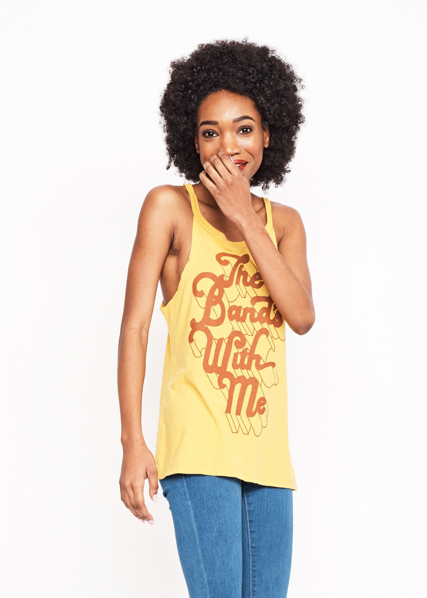 The Band's With Me Halter Tank - Mustard
