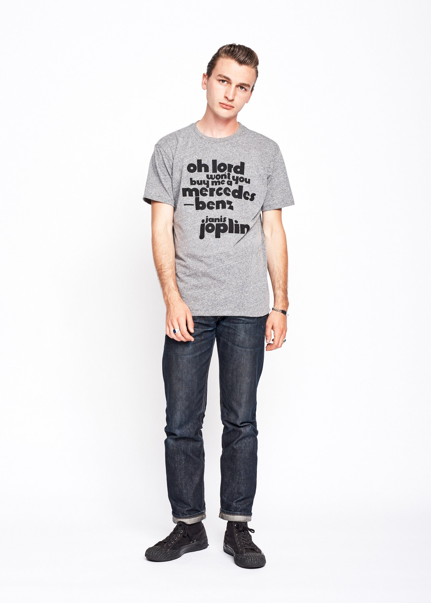 Janis Joplin Mercedes Benz Men's Crew - Heather Grey - Men's Tee Shirt - Midnight Rider