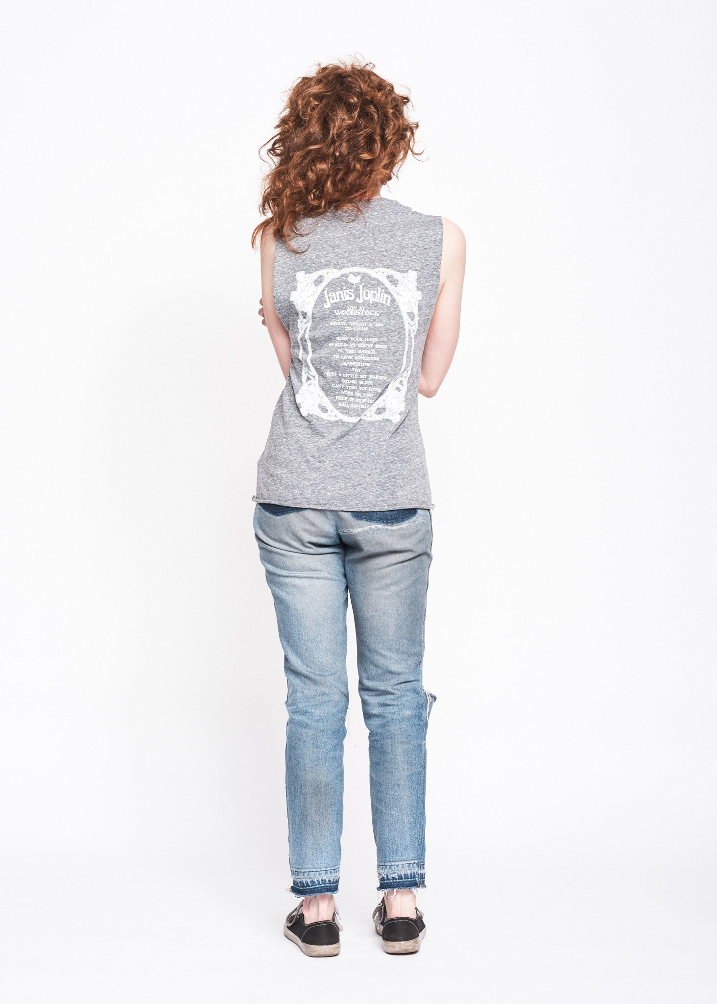 Janis Joplin Live at Woodstock Muscle Tee - Heather Grey
