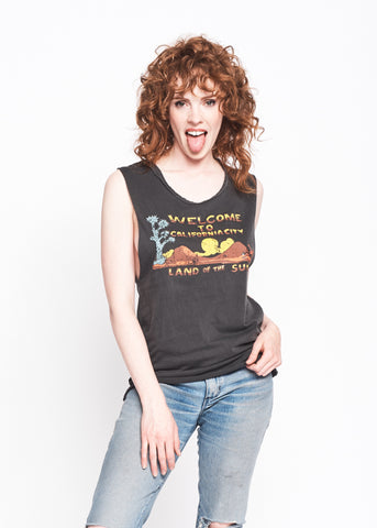California City Women's Muscle Tee - Vintage Black