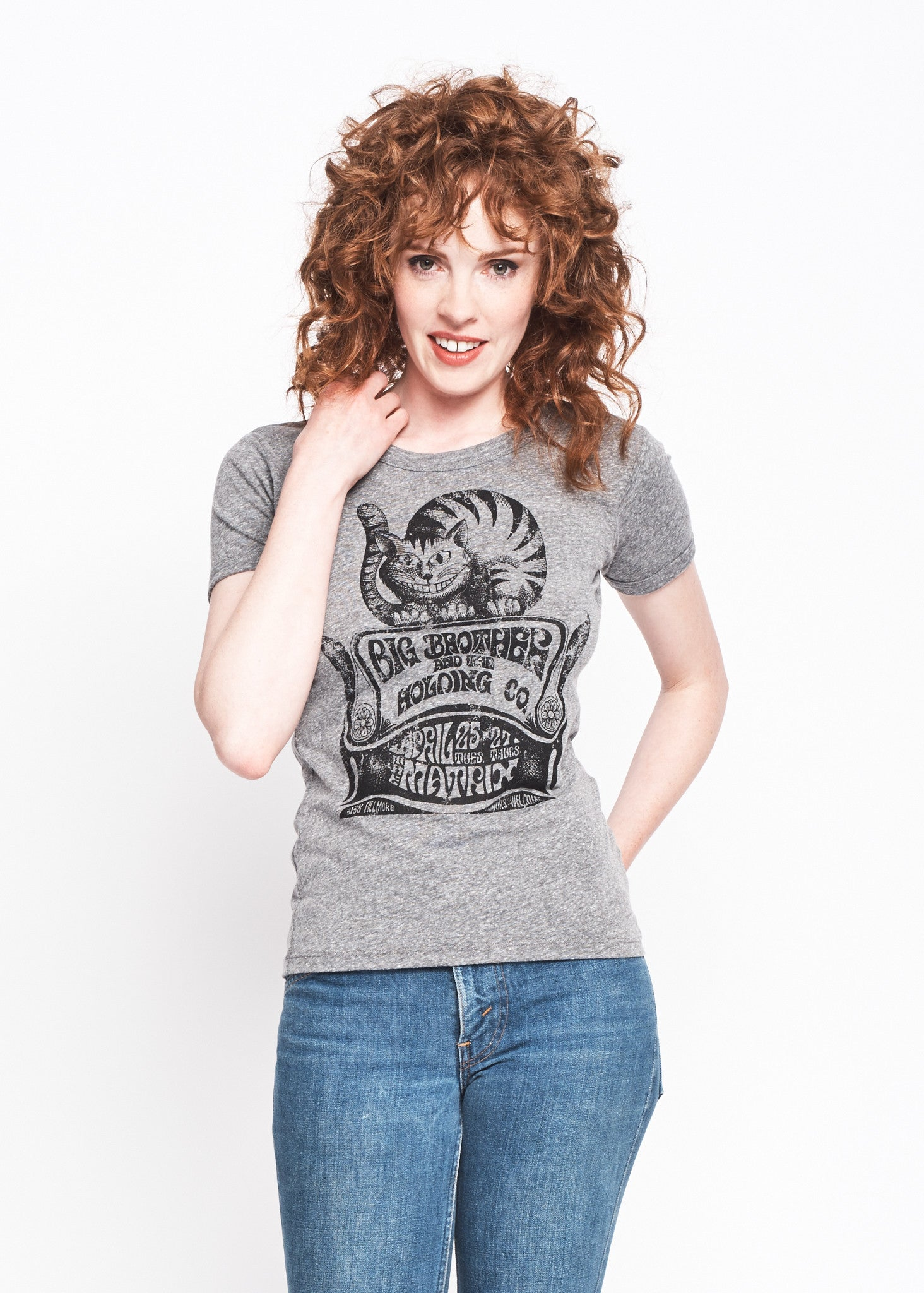 Cheshire Cat Ringer Crew - Heather Grey - Women's Muscle Tee - Midnight Rider