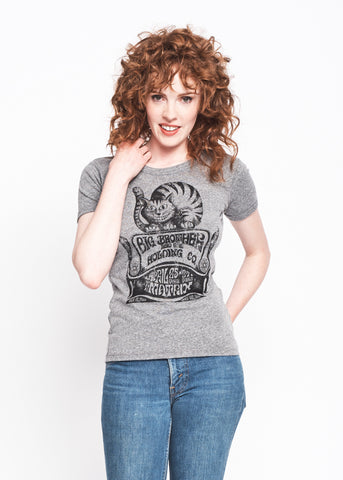 Cheshire Cat Ringer Crew - Heather Grey