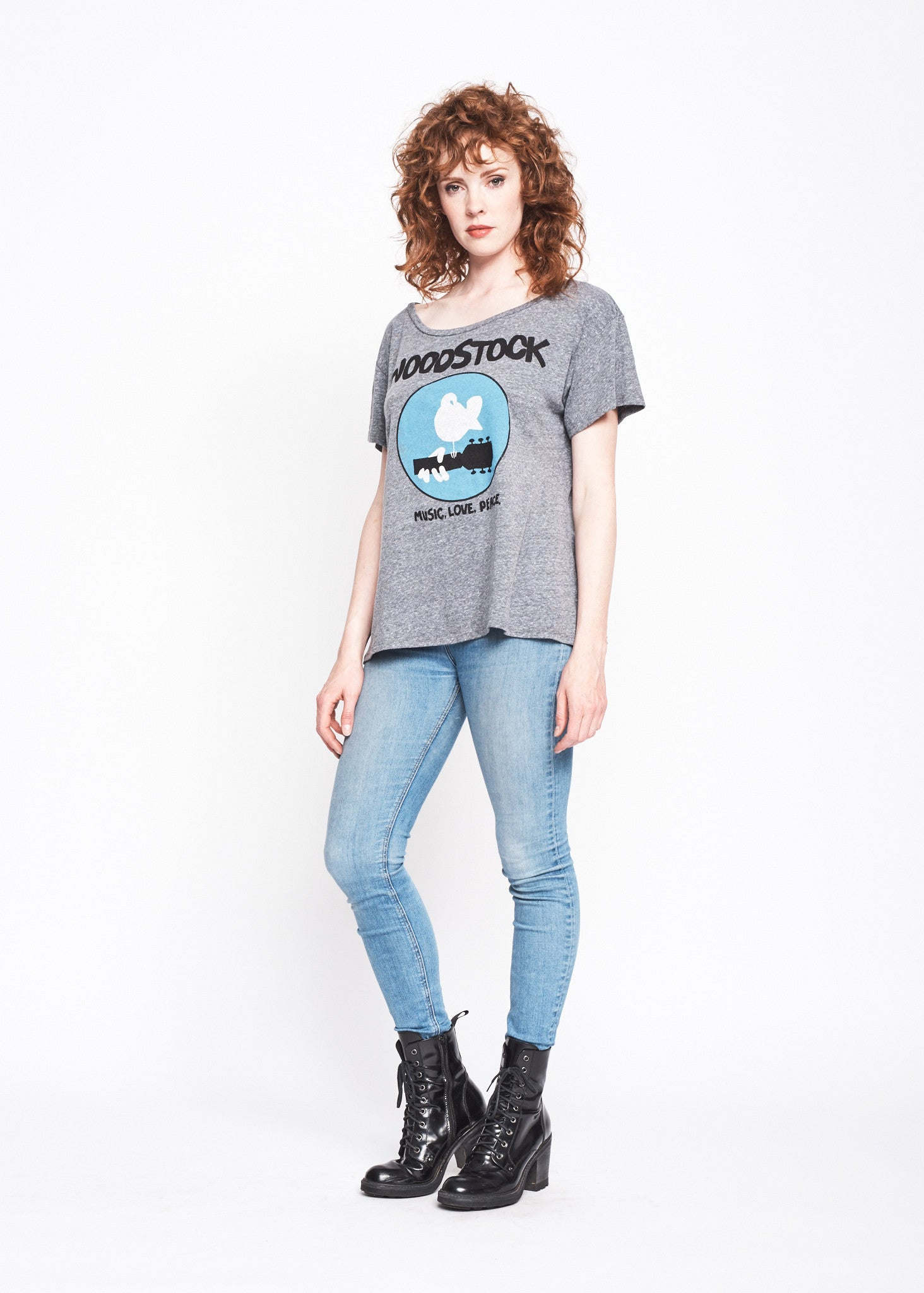 Music Love Peace Boyfriend Tee - Heather Grey