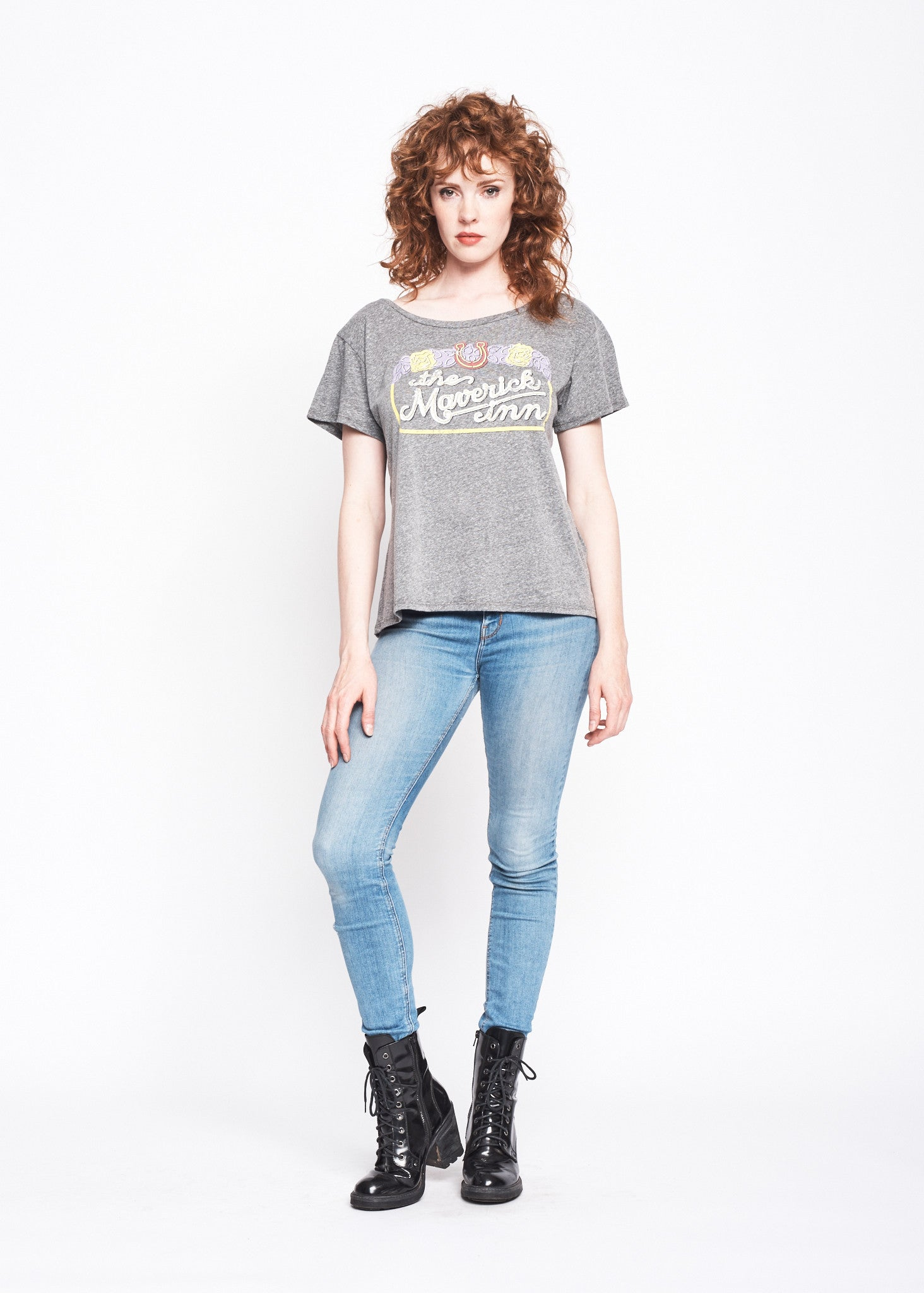 Maverick Inn Boyfriend Tee - Heather Grey