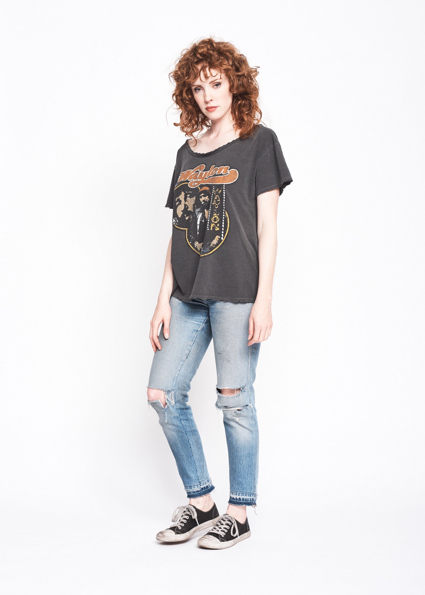 Waylon Jennings Collage Boyfriend Tee - Vintage Black