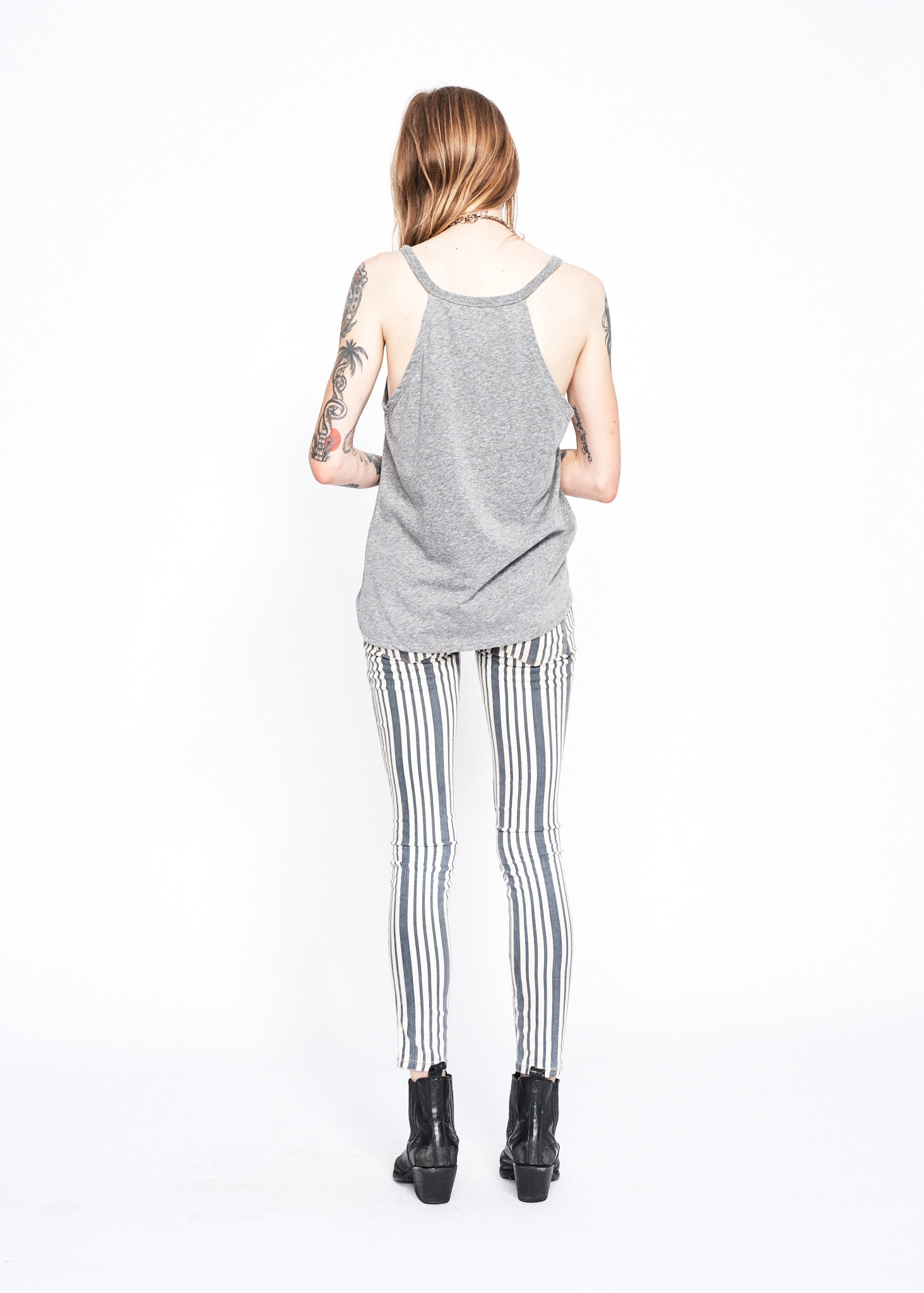 Cheshire Cat Halter Tank - Heather Grey - Women's Muscle Tee - Midnight Rider