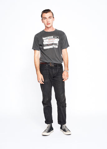 Cassette Stack Johnny Paycheck Men's Crew - Vintage Black