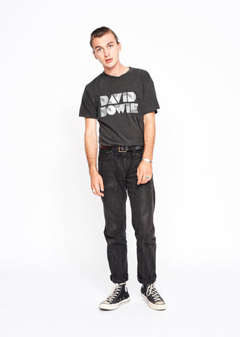 David Bowie Glitter Men's Crew - Vintage Black