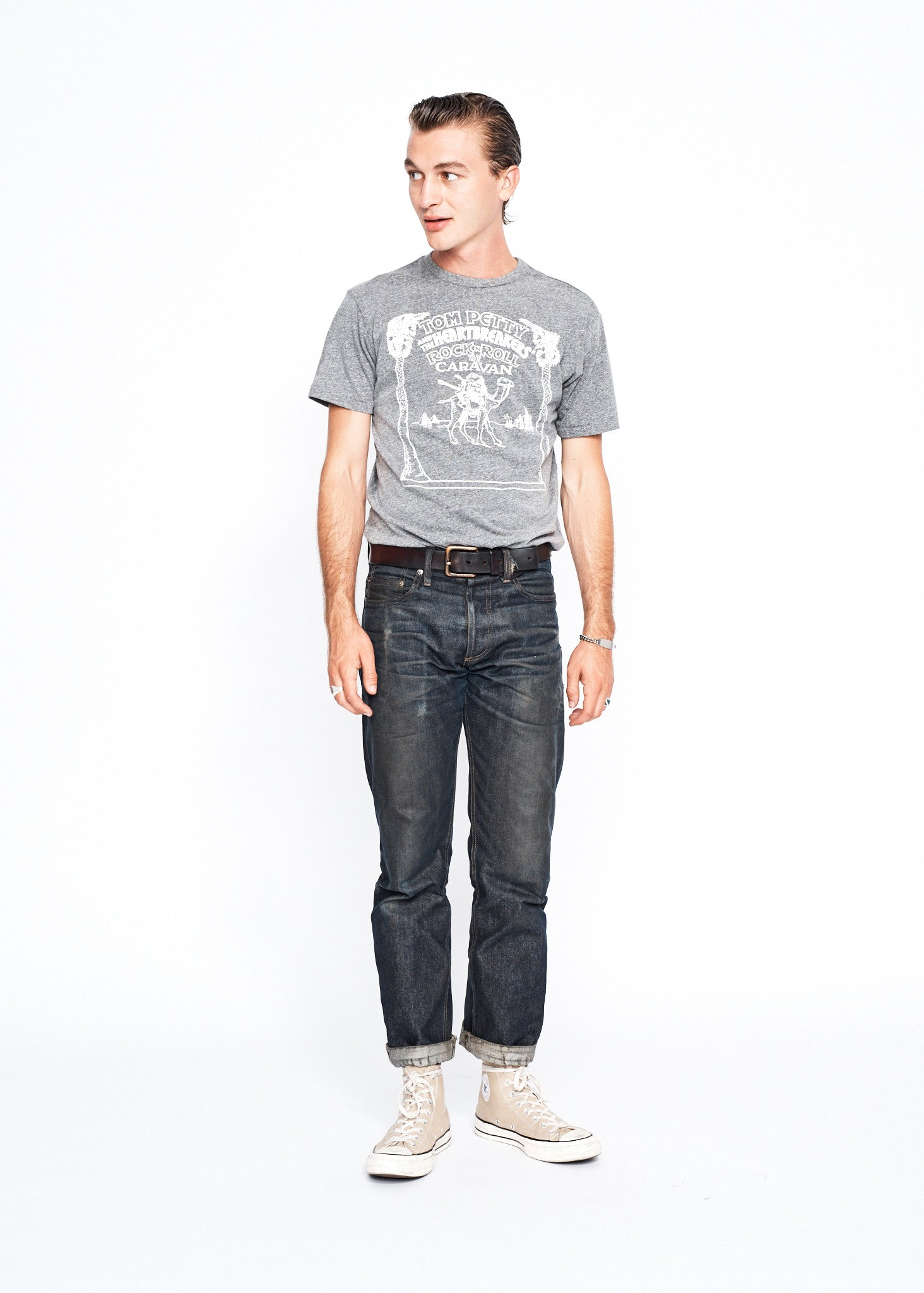 Rock 'n' Roll Caravan Men's Crew - Heather Grey - Men's Tee Shirt - Midnight Rider