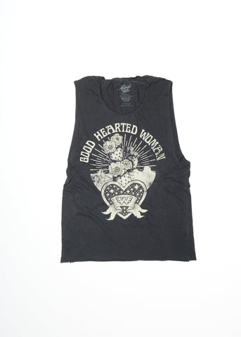 Good Hearted Woman - Vintage Black Muscle Tee