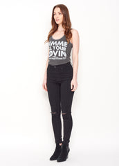 Gimme All Your Lovin' Lace Tank - Vintage Black - Women's Lace Tank - Midnight Rider