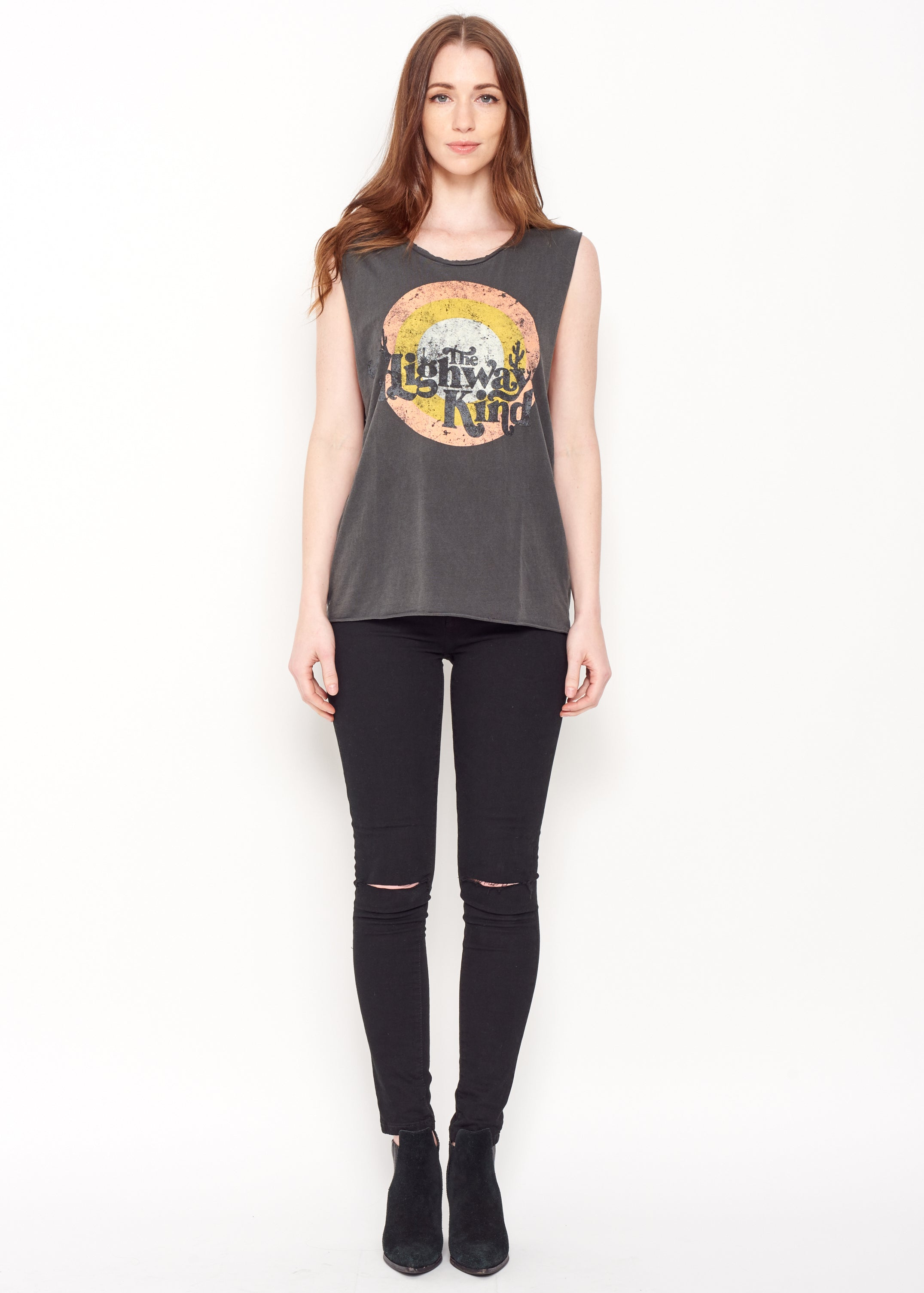 Highway Kind Muscle Tee - Vintage Black - Women's Muscle Tee - Midnight Rider