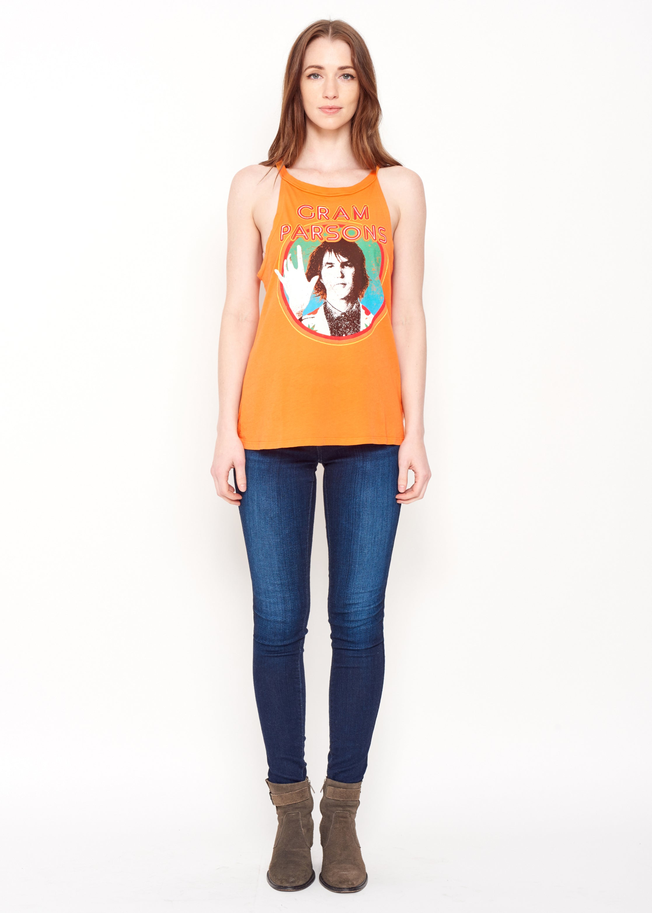 Gram Parsons Circle Halter Tank - Women's Tee Shirt - Midnight Rider