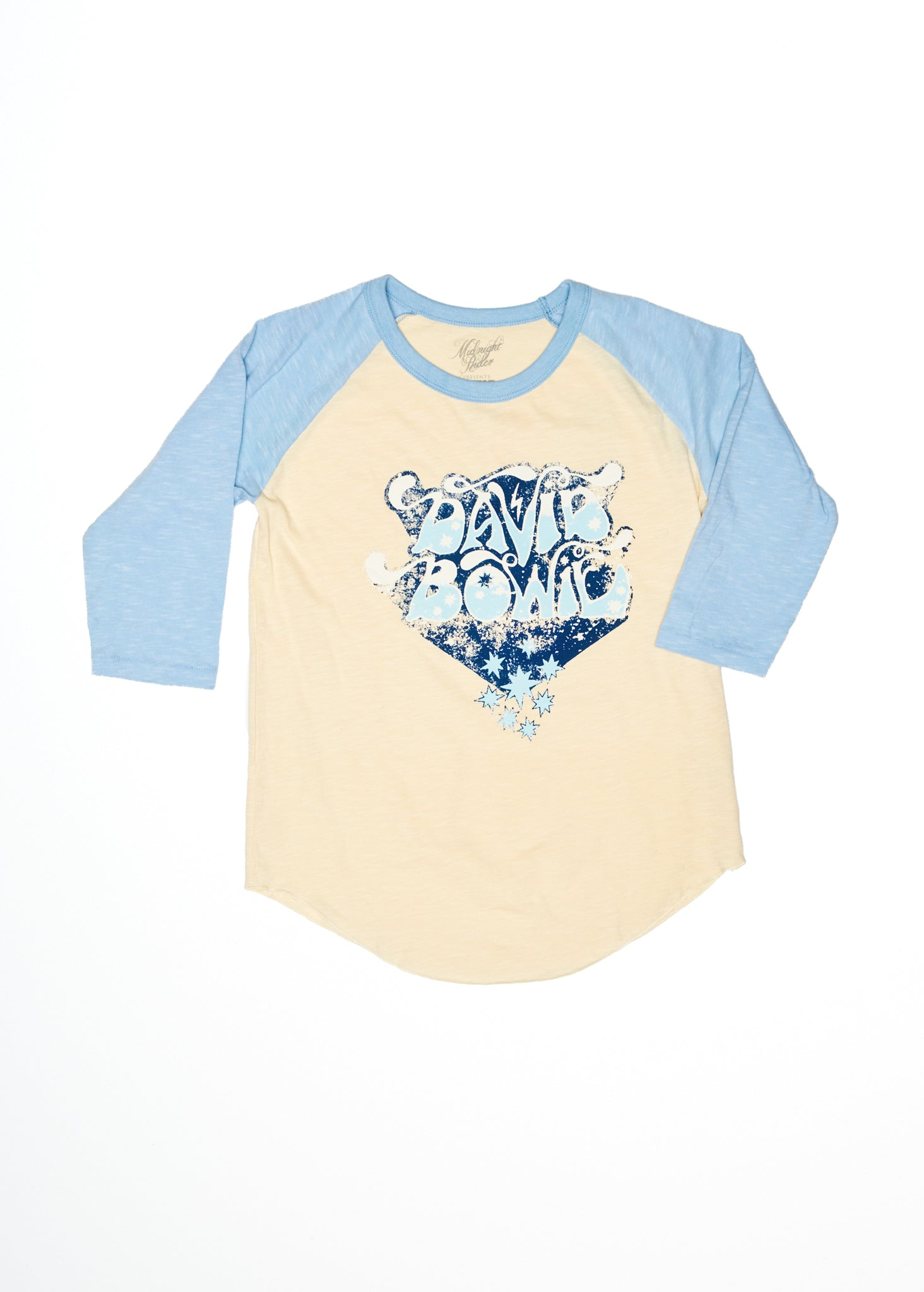 David Bowie Bubble Letter Baseball Tee - Baseball Tee - Midnight Rider