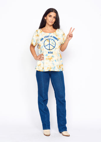 Give Peace a Chance Boyfriend Tee - Women's Boyfriend Tee - Midnight Rider