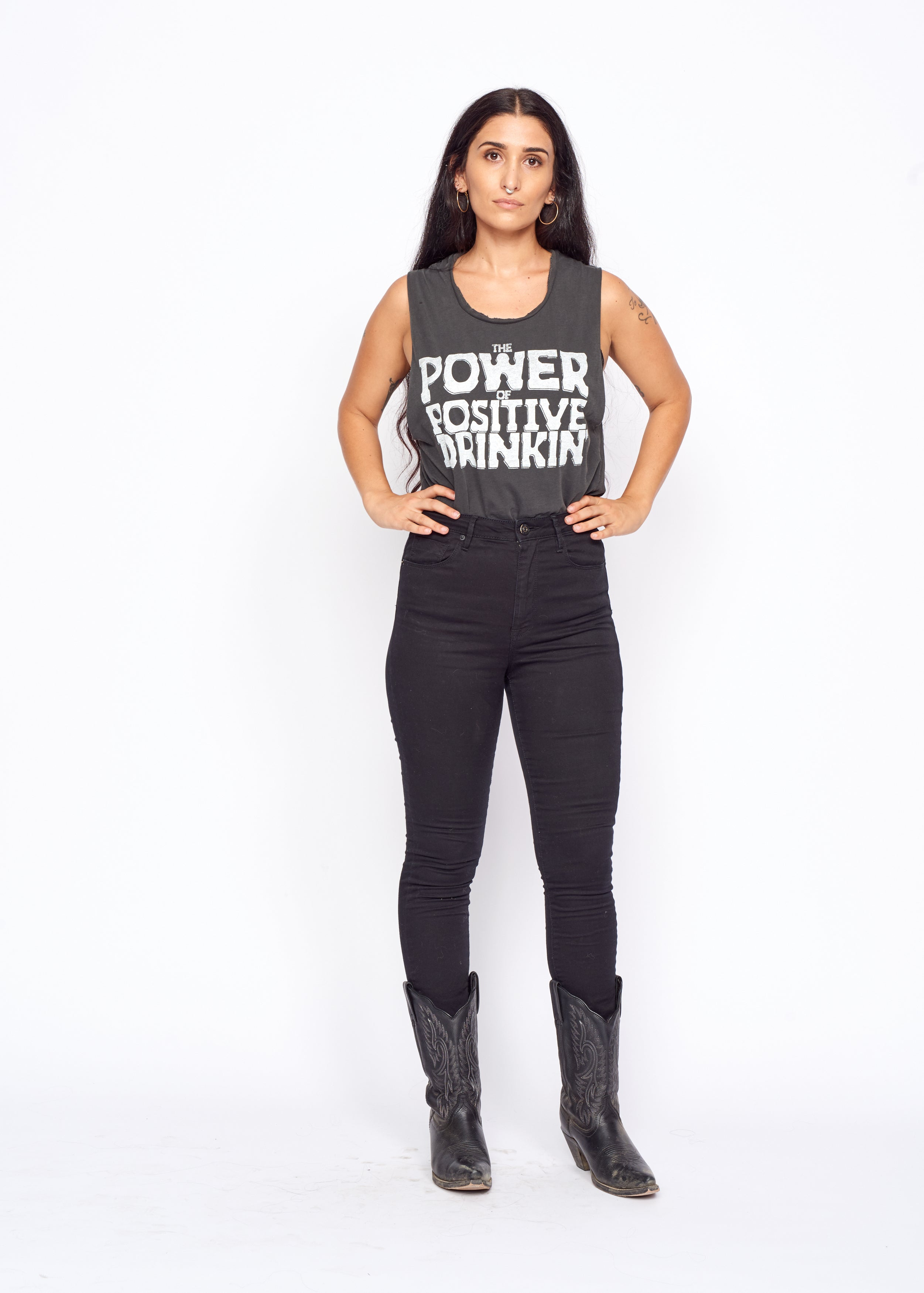 Power of Positive Drinking Gilley's Muscle Tee - Women's Muscle Tee - Midnight Rider