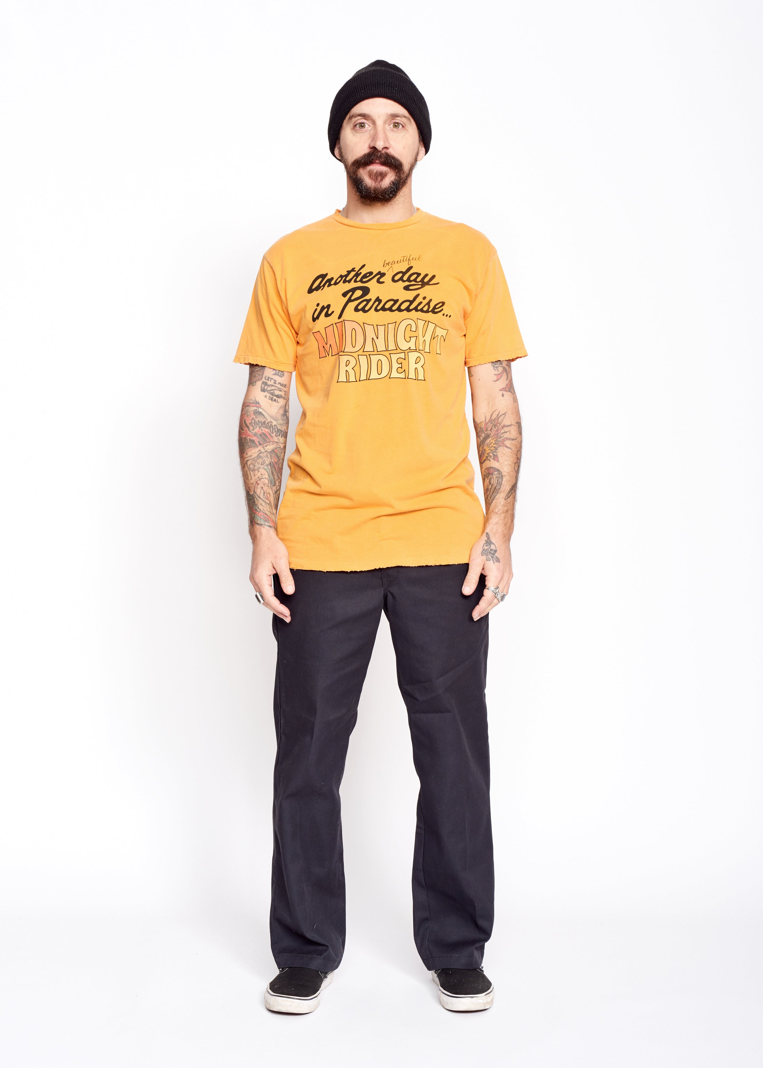 Another Day in Paradise Men's Crew - Marigold - Men's Tee Shirt - Midnight Rider