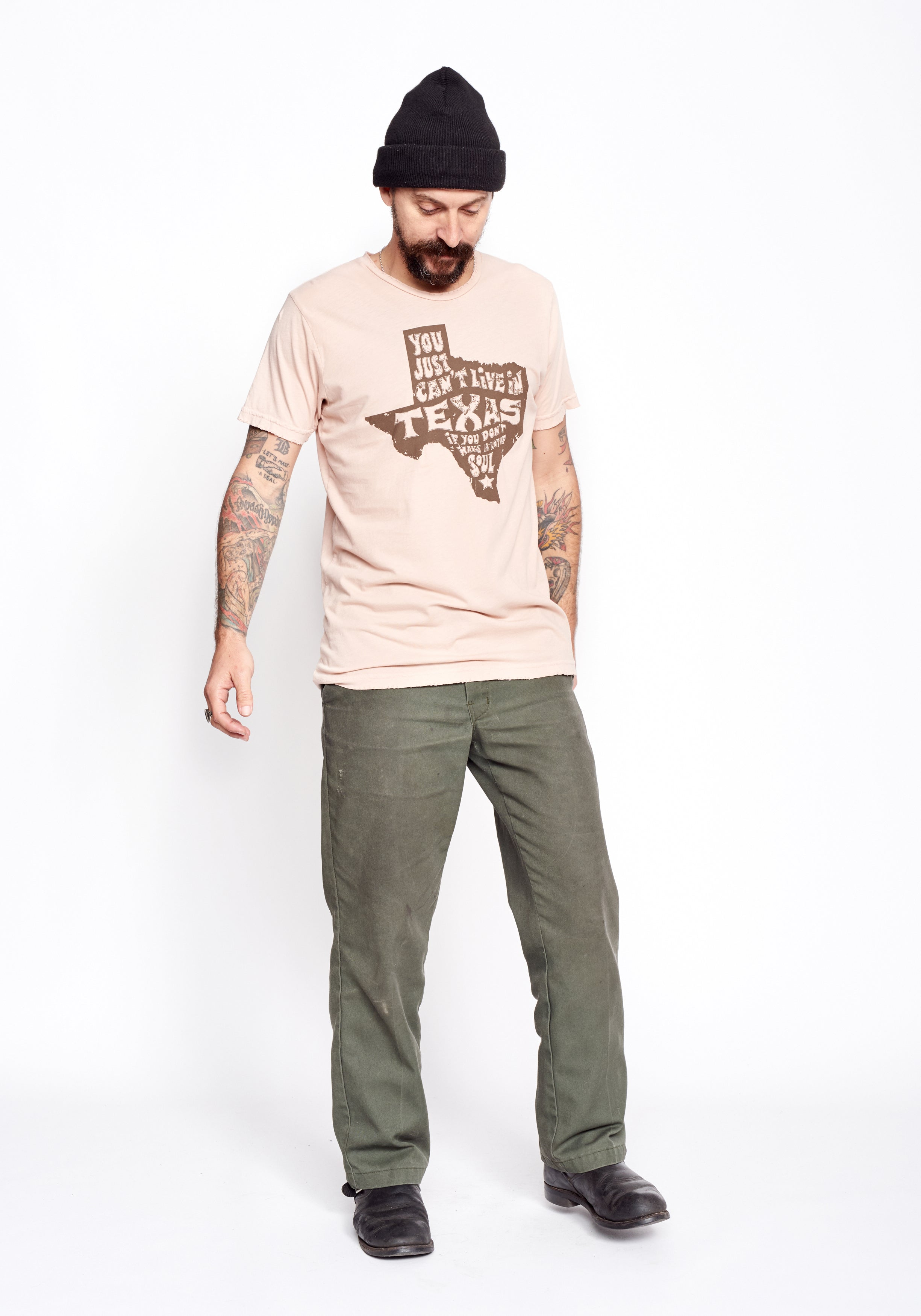 Texas Soul Men's Crew - Khaki - Men's Tee Shirt - Midnight Rider