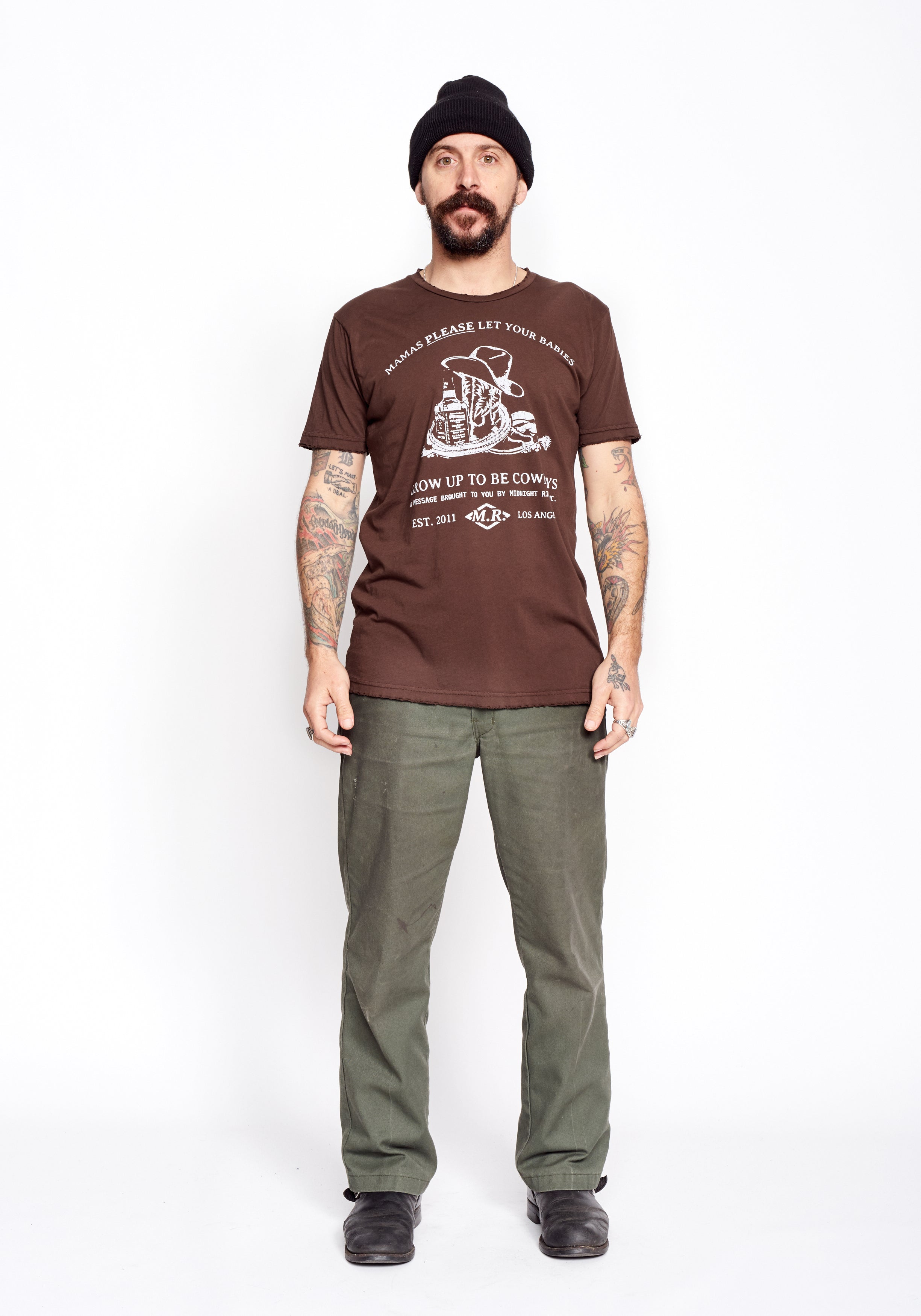 Please Let Your Babies Grow Up To Be Cowboys Men's Crew - Tobacco Brown - Men's Tee Shirt - Midnight Rider