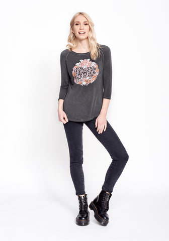 Flowers of One Garden Women's Raglan - Women's Thermal - Midnight Rider