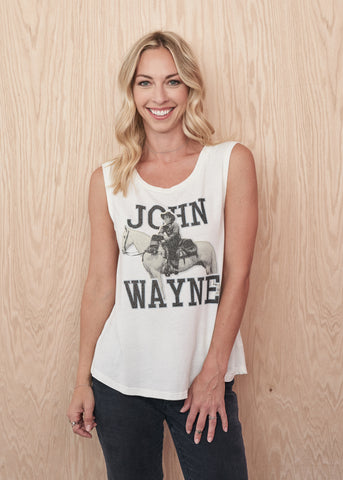 John Wayne on Horseback Women's Muscle Tee