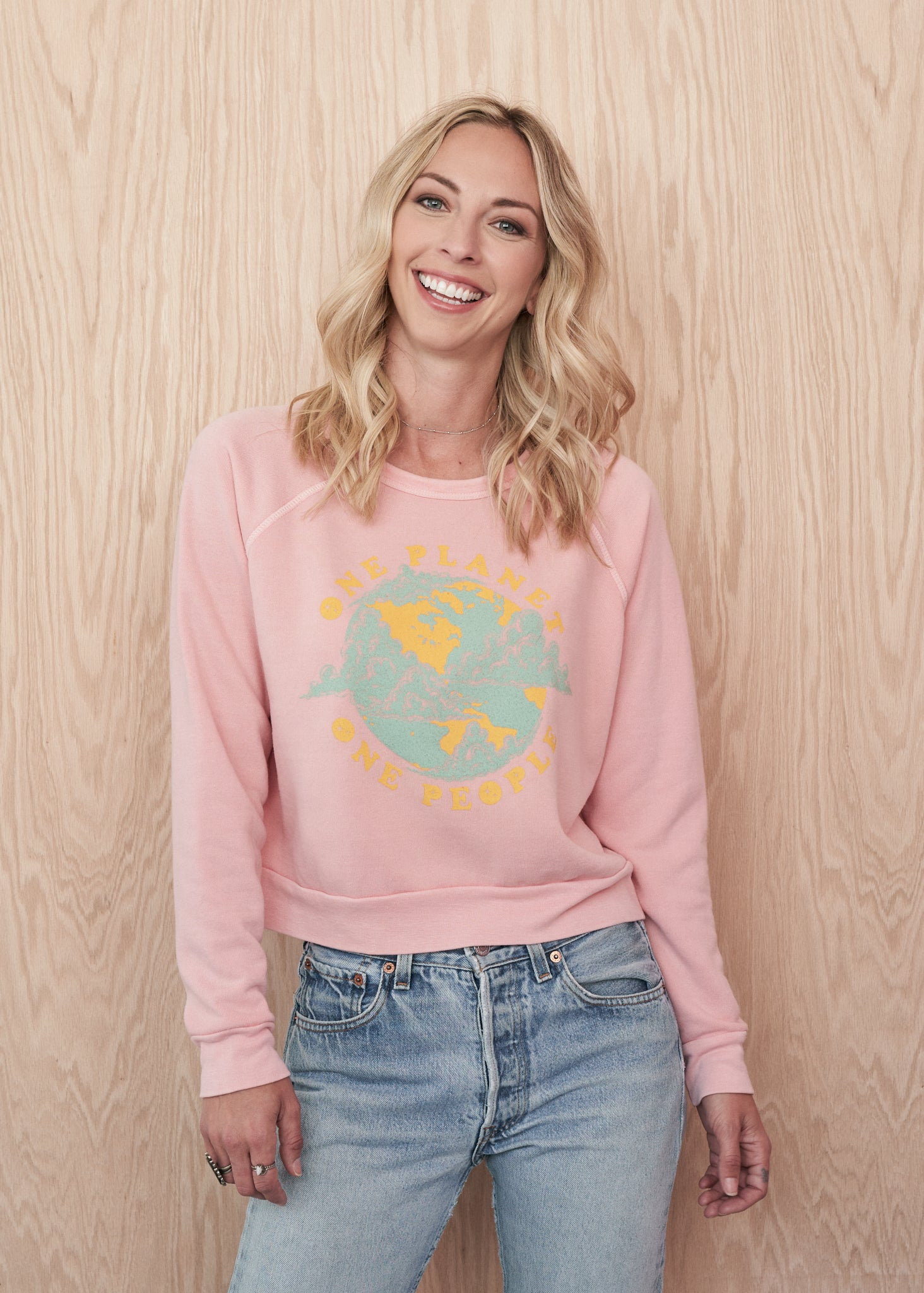One Planet One People Cropped Sweatshirt - Women's Tee Shirt - Midnight Rider