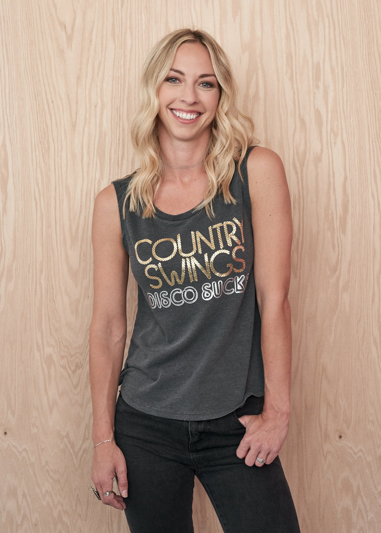 Country Swings Disco Sucks Muscle Tee - Women's Muscle Tee - Midnight Rider