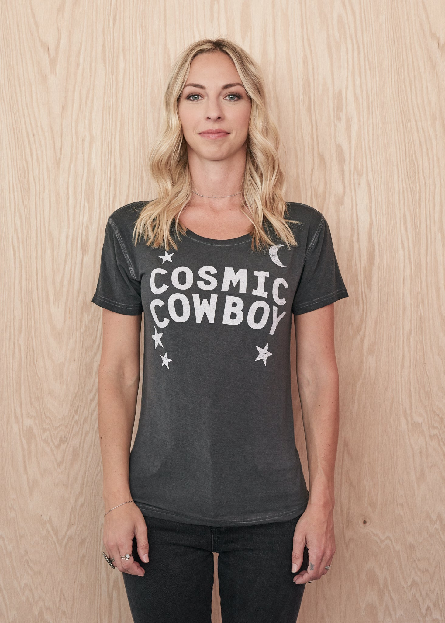 Cosmic Cowboy Droptail Tee - White Print - Women's Tee Shirt - Midnight Rider