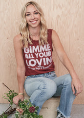Gimme All Your Lovin' Muscle Tee - Women's Muscle Tee - Midnight Rider