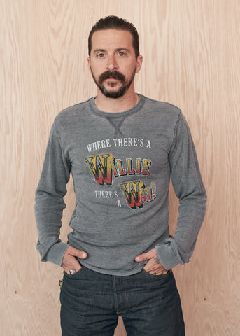 Where There's A Willie There's A Way Thermal - Men's Tee Shirt - Midnight Rider