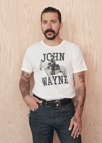 John Wayne on Horseback Men's Crew Tee Shirt