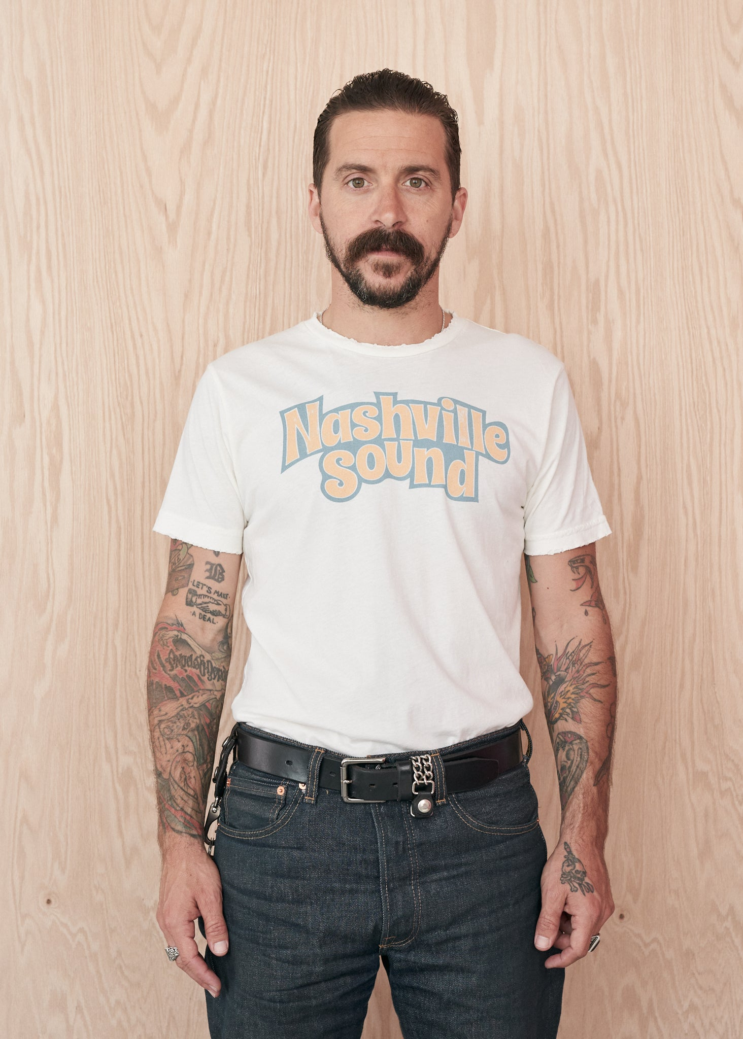 Nashville Sound Men's Tee Shirt - Coconut Cream - Men's Tee Shirt - Midnight Rider