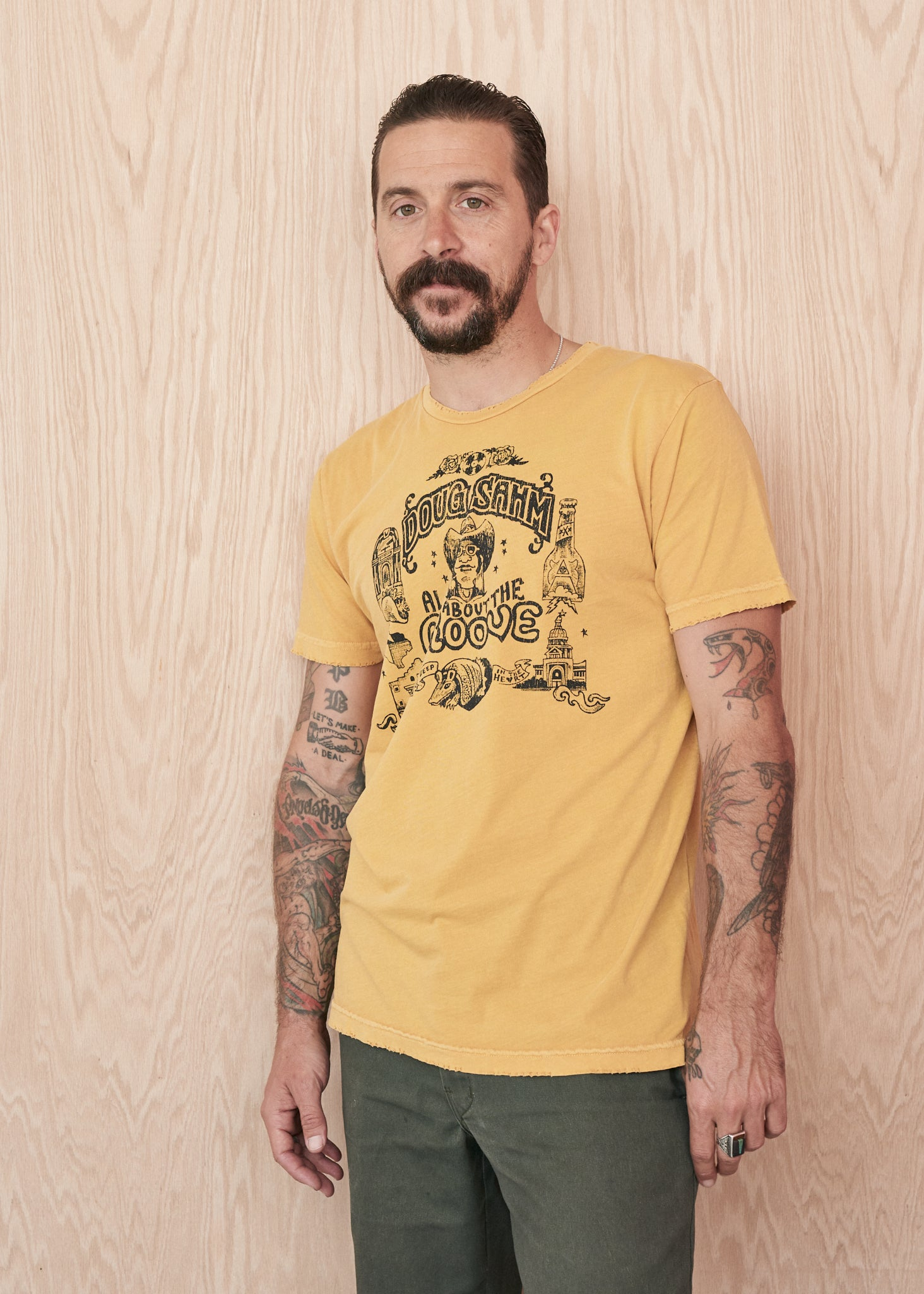 All About the Groove Doug Sahm Men's Crew Tee Shirt - Mustard - Men's Tee Shirt - Midnight Rider