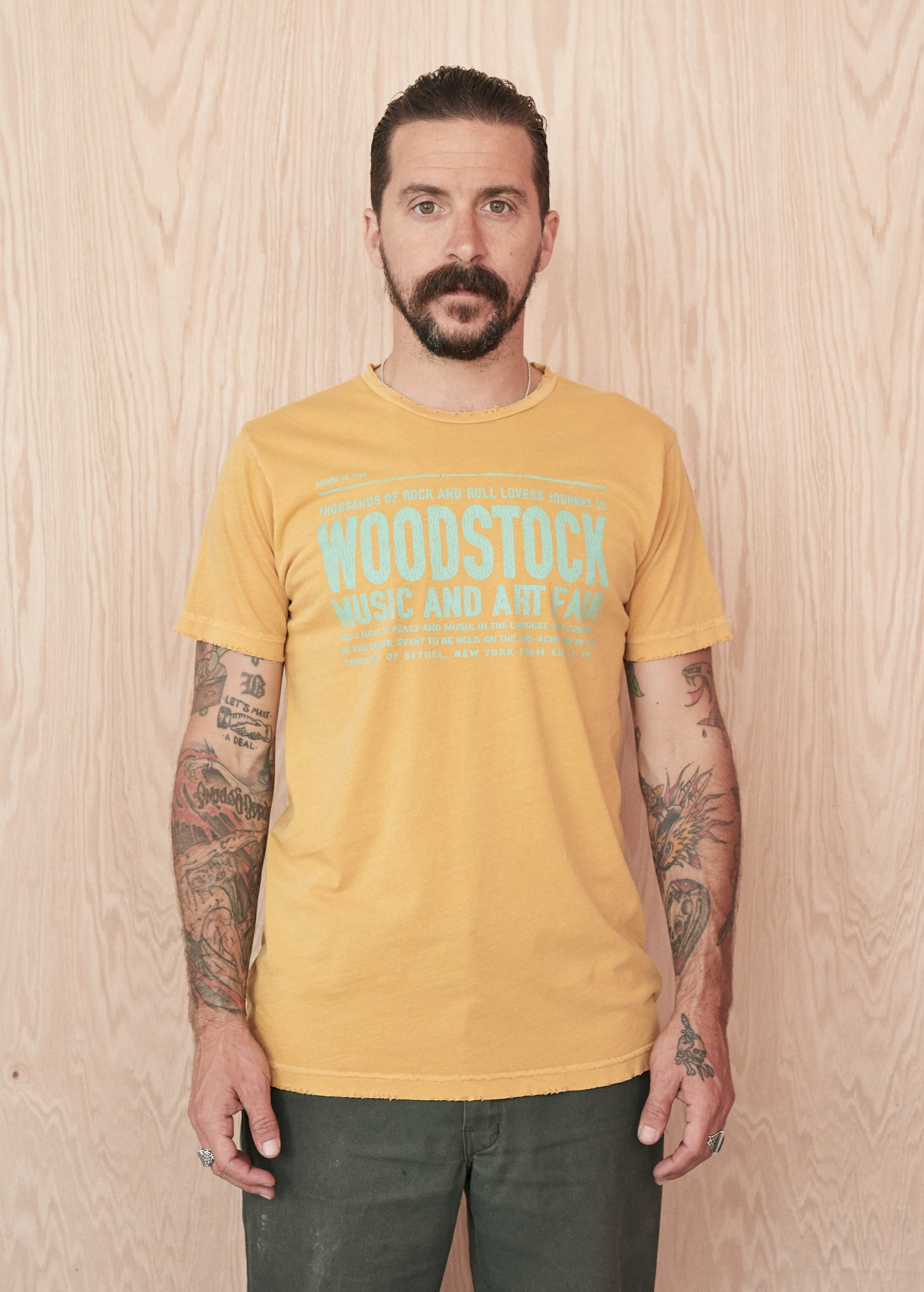 Woodstock Art Faire Men's Tee - Mustard
