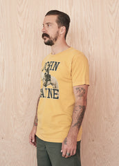 John Wayne on Horseback Men's Crew Tee Shirt - Mustard