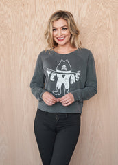 Texas Oil Women's Cropped Sweatshirt - Women's Sweatshirt - Midnight Rider