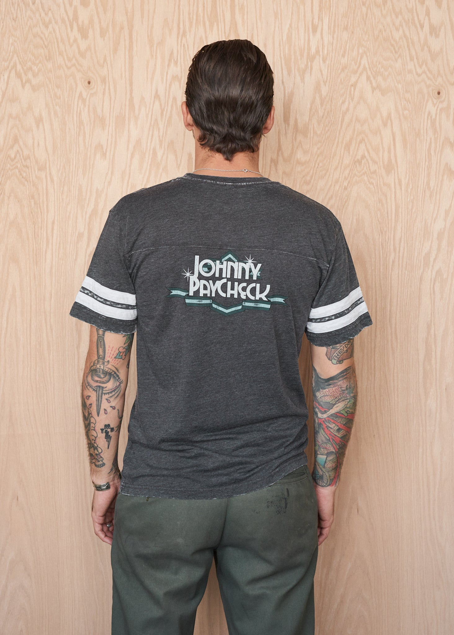 Johnny Paycheck Two-Sided Football Tee - Men's Tee Shirt - Midnight Rider