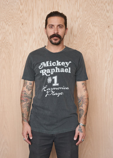 Mickey Raphael No. 1 Harmonica Player Men's Crew - Vintage Black - Men's Tee Shirt - Midnight Rider