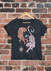 Circling Tigers Vintage Black Cut-Off Tee