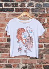 Circling Tigers Cut-Off Tee - Dirty White