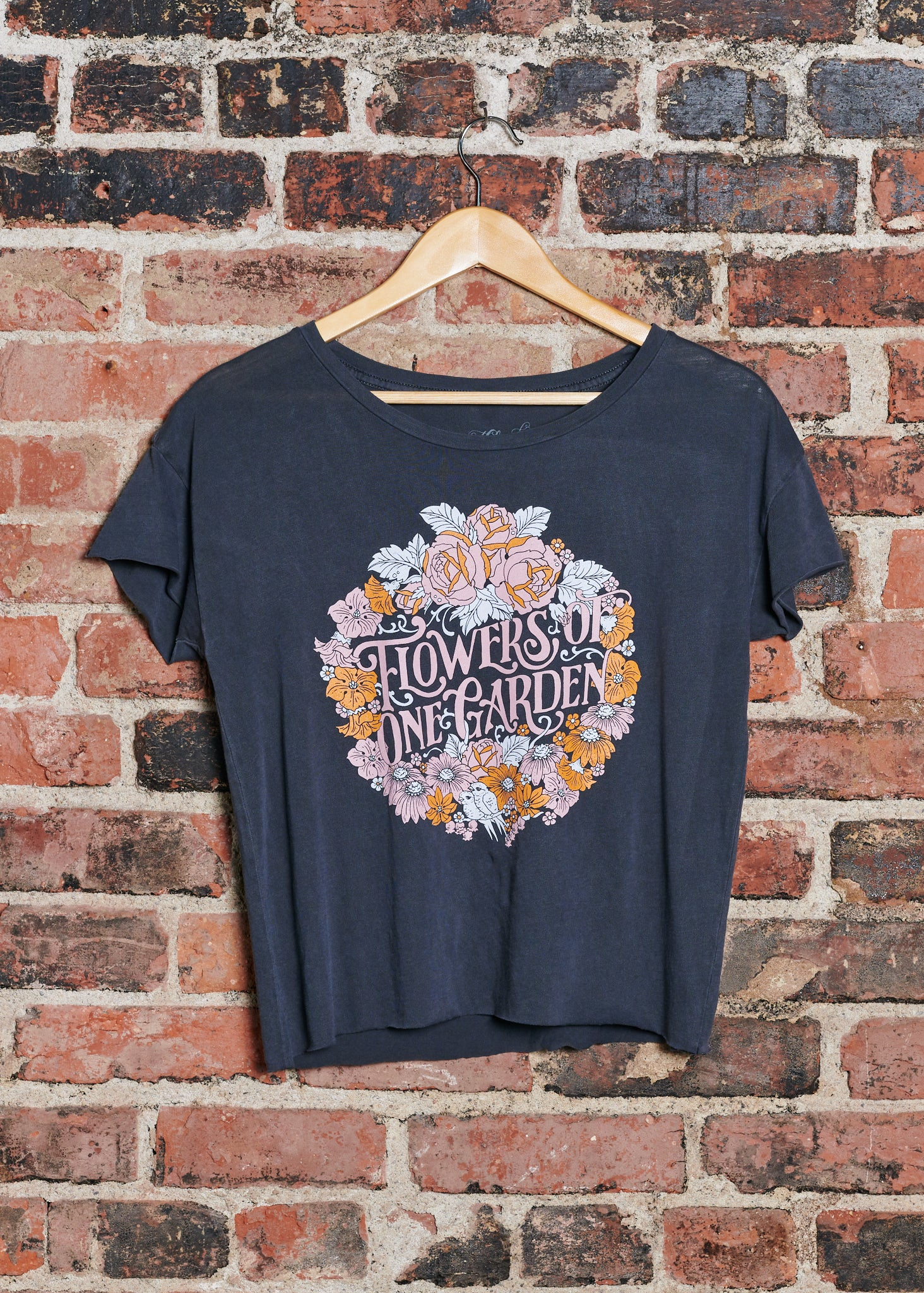 Flowers of One Garden Cut Off T-Shirt - Vintage Black